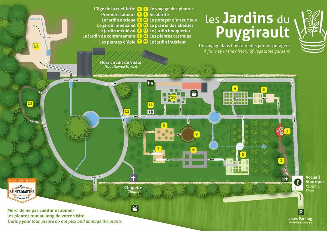 plattegrond van puygirault tuinen